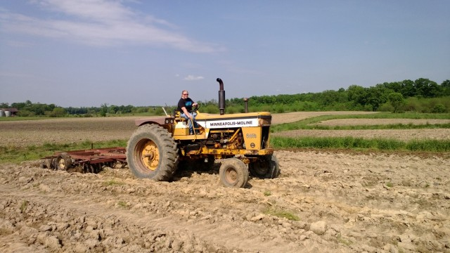 Caren on the tractor.